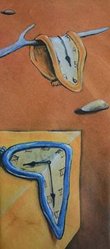 "close up of Salvador Dali ""Time Warp"" tie"