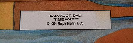 """Salvador Dali """"Time Warp"""" tie label"""